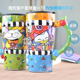 Wholesale China Large Painting - Wholesale- Painted large ceramic mug personality gift with a spoon of coffee cup with lid
