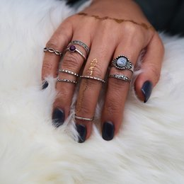 Wholesale Acrylic Wedding Nails - idealway 12sets lot Bohemian Gypsy Style Silver Plated Natural Nail Antique Midi Finger Rings 3 Style