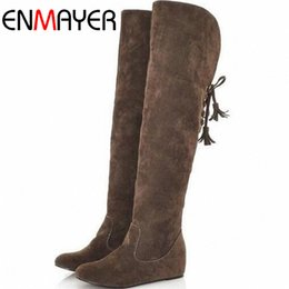 Wholesale long lace slip - Wholesale-ENMAYER Fashion Snow Boots Fashion Winter Back Lace Up Knee High Boots for Women Drop Shipping Long Boots Shoes Women New