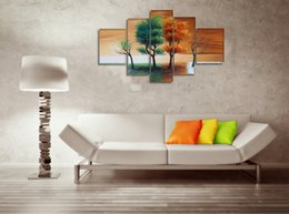 Wholesale Oil Paintings Woods - Season Tree Painting Wall Art Decor 100% Hand Painted Oil Painting Landscape Home Decoration Wood Frame Inside