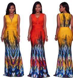 Wholesale boho print maxi skirt - summer new women bohemian dress BOHO style Fashion floral print beach dress Vintage maxi dress vestidos casual Party Mermaid skirt wholesale