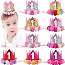 Wholesale Creamy White - Hot New Baby 1st Birthday Sparkly Party Crown Artificial Pink and Creamy Rose Flowers Tiara Headband HJ145