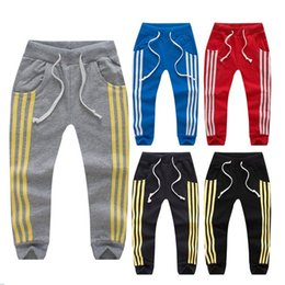 Wholesale Boys Elastic Waist Pants - New Children three stripes Sports pants cotton baby boys girls Leisure Trousers High qulity kids Sweatpants C2471