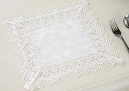 Wholesale Wedding Wholesale Lace Tablecloths - Wholesale- European polyester table mat pad white soluble lace placemat cup coaster tablecloth for wedding home christmas gift decoration