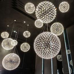 Wholesale Stainless Pendant Silver - modern living room pendant lamp light stainless steel ball led chandelier firework light restaurant villa hotel project pendant lighting