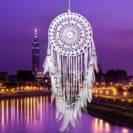 Wholesale Handmade Holiday Decorations - Handmade Lace Dream Catcher Circular With Feathers Hanging Decoration Ornament Craft Gift Crocheted White Dreamcatcher Wind Chimes