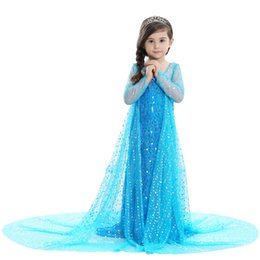 Wholesale Clothing Style Costumes Princess - Girls dresses elsa frozen Princess Dress long cape brillian dress for Birthday Evening Party Dresses costume girl children kids clothing