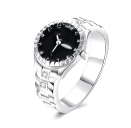 Wholesale watch rings wholesale - B001 Euramerican Silver Color Wedding Bands Watch Ring,Casual Men and Women Jewelry Cool Sporty Accessory Gaya Perhiasan Wholesale