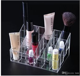 Wholesale Acrylic Square Stand - 60pcs lot Fast shipping 24 Lipstick Holder Display Stand Clear Acrylic Cosmetic Organizer Makeup Case Sundry Storage makeup organizer box