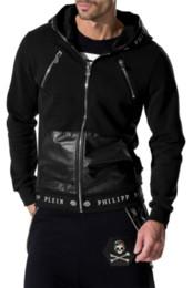 Wholesale Leather Sweatshirt Men - 2017 Hot Sell Men's Jacket Length Sleeve Hoodies Sweatshirts Print Hoody Hooded Mens Zipper Leather Outwear 6157