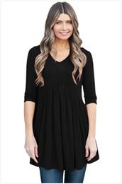 Wholesale Peplum Xxl - women's 3 4 Sleeve O-neck Pleated Casual Sexy Clubwear Top T-shirts Vestidos Size: S M L XL XXL DLM250288