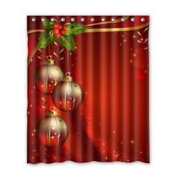 Wholesale 36 inch ball - Customs 36 48 60 66 72 80 (W) x 72 (H) Inch Shower Curtain Christmas Red Background Festival Balls Polyester Fabric Shower Curtain