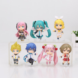 Wholesale Anime Figure Pvc Figma - 7pcs set 5cm Anime Hatsune Miku Action Figure Figma Q version PVC model Brinquedos Kids Toys