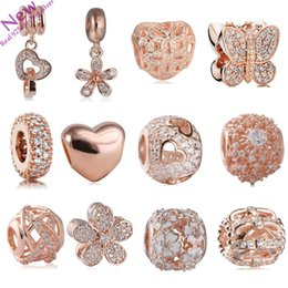 Wholesale Pandora Gold Charm Bracelets - 207 New Rose Gold Color Flower Charms Beads Fit Original Pandora Bracelets 925 Sterling-Silver-Jewelry CZ Pendant Bead DIY Accessories
