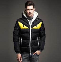 Wholesale Fleece Knit Jacket - 2018 New monster funny hooded Jacket Thick winter fleece Warm cotton coat men Parkas Outwear windtight Parka winter jacket