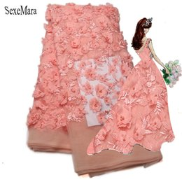 Wholesale Tulle Material Wholesale - High Quality African Tulle Lace Fabric 2017 Peach African Lace Material Embroidery 3d Flower Fabric With Beaded Wedding
