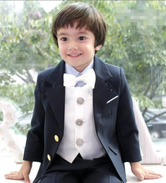 Wholesale Kids Birthday Party Dresses Boy - Brand New Boys Formal Occasion Attire Wedding Kid Dress Suit Birthday Party Suits Prom Suit(Jacket+Pants+Tie+Vest )