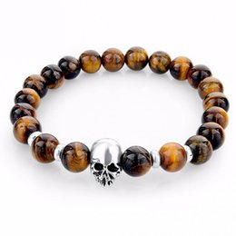 Wholesale Tiger Eye Bracelet For Women - New Fashion Natural Stones Skull Bracelet For Women Lava Stone Beads String And Tiger Eye Stone Beads Men Bracelet
