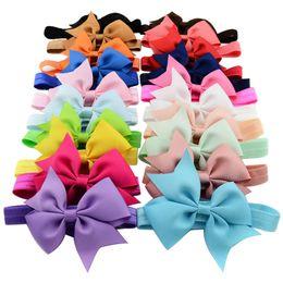 Wholesale Ribbon Bow Headbands - 20 Colors Baby Hair Headbands Bows 4 Inch Ribbon Bow Headbands for Girls Children Hair Accessories Kids Princess Elastic Headdress KHA206