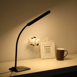Wholesale Led Desk Ac - Gooseneck LED Desk Lamp 5-level Dimmer Touch Control Eye Protection Bedside Book Reading Study Office Work Table Light Children