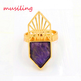 Wholesale 18k Gold Plated Amethyst Ring - musiling Jewelry Wedding Rings Natural Stone Ring Adjustable Men's Ring Tiger's Eye Amethyst etc Accessories 18K Gold Plated Fashion Jewelry