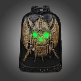 Wholesale Pirates Women Style - Fashion Rivet Backpack 3D Skull Pirate Backpack Fluorescent School Girls Boys College Student Backpack Luminous Bagpack Bag for Teenagers