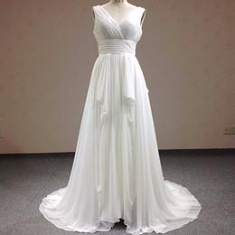 Wholesale Wedding Dresses Slim Line - New fashion V-Neck Chiffon Pleat Wedding Dress 2018 Graceful Slim Sweep Train Vestidos De Novia Bridal Gown WD0048