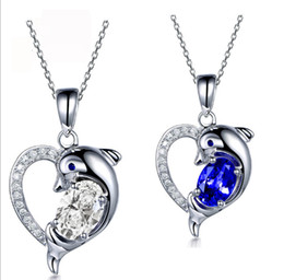 Wholesale 925 Sterling Silver Dolphin Necklaces - White gold plated 100% Real Sterling Silver 925 Heart Dolphin Pendant Necklace with Chain,white and blue color