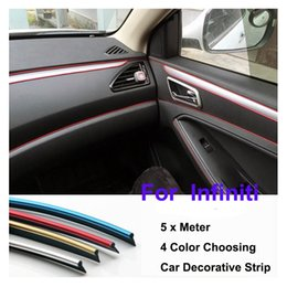 Wholesale Car Decoration Trim - 5 Meter Auto dash panel trim strip Car Rein Side moulding decoration Strip decorative tape Q50 Q60 Q70 QX QX70  QX50