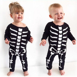 Wholesale skeleton costume child - Rompers Jumpsuits Baby Girls Kids Clothing Halloween Children 's Black skeleton printed Halloween costume boy One - piece clothes 1614
