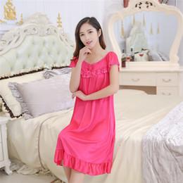 327f69c816 Wholesale- Hot Sale Nightgowns   Sleepshirts Women Summer Style Bathrobe Sleepwear  Sexy silk female lace Large size Nightdress wholesale