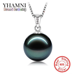 Wholesale original 925 silver chain - YHAMNI Original Flawless Black Pearl Pendant Necklace With Solid 925 Silver Chain Necklace Wedding Jewelry for Women N001