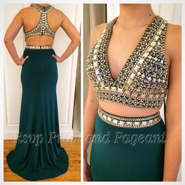 Wholesale Long Green Satin Dress - Hunter Green Long prom Dress 2017 Mermaid V-neck Beaded Crystals two pieces Stretch Satin Emerald Green Evening Dresses Gowns
