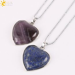 Wholesale Stone Inlay Pendants - CSJA Hot Natural Amethyst Jewelry Inlaid Heart Gem Stone Female Charms Pendant Necklace Best Valentine's Day Love Gift Free Shipping E074 B