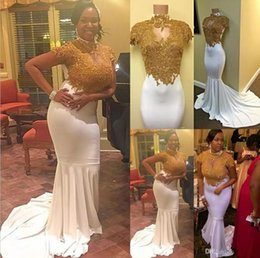 Wholesale Stretchy Long Dress - Hot 2017 Mermaid Cap Sleeves Prom Dresses High Collar Keyhole Neck Gold Appliqued Occasion Evening Gowns Stretchy Long Train