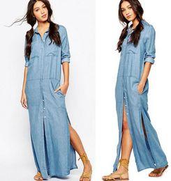 Wholesale Long Sleeved Chiffon Maxi Dress - 2017 new women Maxi dress Fashion lapel Split Chiffon shirt dress ladies denim dress casual loose long sleeved T shirt dresses