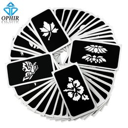 Wholesale Temporary Tattoo Stencil Sheets - Wholesale-OPHIR 50 PCS Airbrush Stencils (5 series) for Body Painting Glitter Temporary Tattoo Tattoo Henna Template Sheets _TA032(A-E)