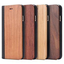 2019 carteras de madera Cuero de lujo retro + Funda de madera del tirón de la madera para Apple Iphone 6 6s Plus para Iphone 7 Cartera de la ranura de la tarjeta de moda Bolsas de la cubierta del Litchi carteras de madera baratos