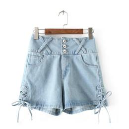 Wholesale Jeans For Women Wholesale - Wholesale- Vintage 2017 Fashion 3 Buttons Retro Elastic High Waist Shorts Jeans Lace UP Denim Shorts For Women Loose Blue Jeans Short