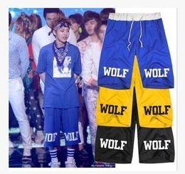 Wholesale Exo Wolf 88 Shorts - Freeshipping exo Wolf 88 short loose casual short pants sport half pants new arrival visio wolf printed shorts KPOP LUHAN KRIS SEHUN 8 colo
