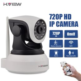 Wholesale Wireless Camera Scanning - H.View WiFi Wireless 720P IP Camera WiFi IP Camera Two Way Audio Baby Monitor Pan Tilt Security Camera Easy QR CODE Scan Connect