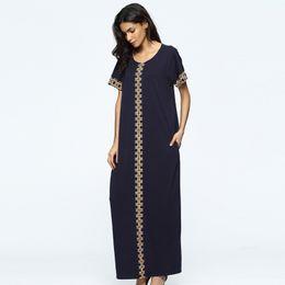 Wholesale Maxi Robe - M-XXL Muslim women dress Women's Maxi long Dress moroccan Kaftan Caftan Jilbab Islamic abaya Muslim Turkish Arab arabic Robes gown