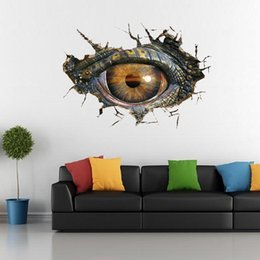 Wholesale Televisions For Bathrooms - Hot dinosaur eyes 3D wall stickers creative living room adesivo parede decoration three-dimensional vinilos waterproof pegatinas de pared