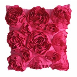 Wholesale Pink Roses Pillow Cases - Wholesale- Polyester Taffeta Rose Pillow Case Cushion Case Suitable for Home and Hotel 99