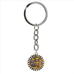 Llavero de loto online-Tono gris antiguo símbolo de Om llavero exquisito elegante Lotus Om llavero mascotas indias joyería símbolo de felicidad regalo 1002