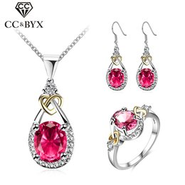 Wholesale 925 Red Zircon Ring - Wholesale jewelry sets 925 sterling silver trendy red cubic zircon diamond midi rings necklace earring women's wedding perfect gifts CCAS116
