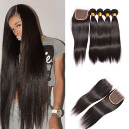 Wholesale Brazilian Hair Bundles Lace Top - 3 Bundles Silky Straight Peruvian Brazilian Virgin Hair Extensions With 1pcs Top Lace Closure 4x4 Unprocessed Remy Human Hair Weave