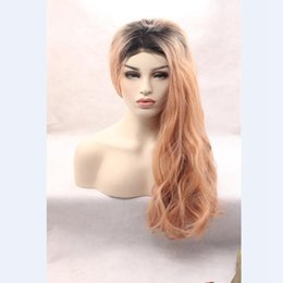 Wholesale Green Wavy Long Synthetic Wig - Fashion Ombre Dark Pink Long Wavy Synthetic Lace Front Wig Glueless Natural Black Light Green Heat Resistant Hair Women Wig