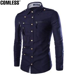Wholesale Slim Fit Blouse - Wholesale- 2017 New Autumn Winter England Style Multi Zipper Shirt Men Casual Solid Cotton Camisa Slim Fit Social Blouse Plus Size M-2XL