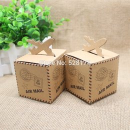 """Wholesale Air Traveling - Wholesale- 50pcs lot Wedding Favors """"Air Mail"""" Plane Aircraft Airplane Kraft Candy Box Gift Boxes for traveling theme wedding decoration"""